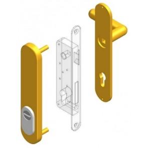 Garnitures de sécurité pour cylindre profil européen béquille intérieure + plaque borgne extérieure