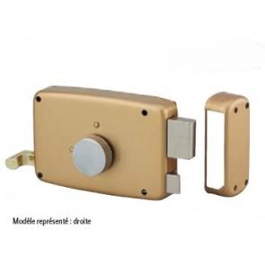 Serrure horizontale en applique à cylindre rond bouton intérieur et tirage