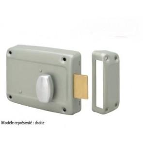 Serrure horizontale en applique à cylindre poussoir et bouton intérieur