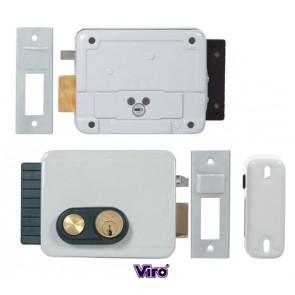 Serrure électrique V97 entraxe réglable de 50 à 80mm pour ouverture sur l'extérieur avc bouton poussoir int.