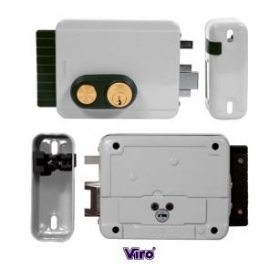 Serrure électrique BLOCK-OUT entraxe réglable de 50 à 80mm avec bouton poussoir